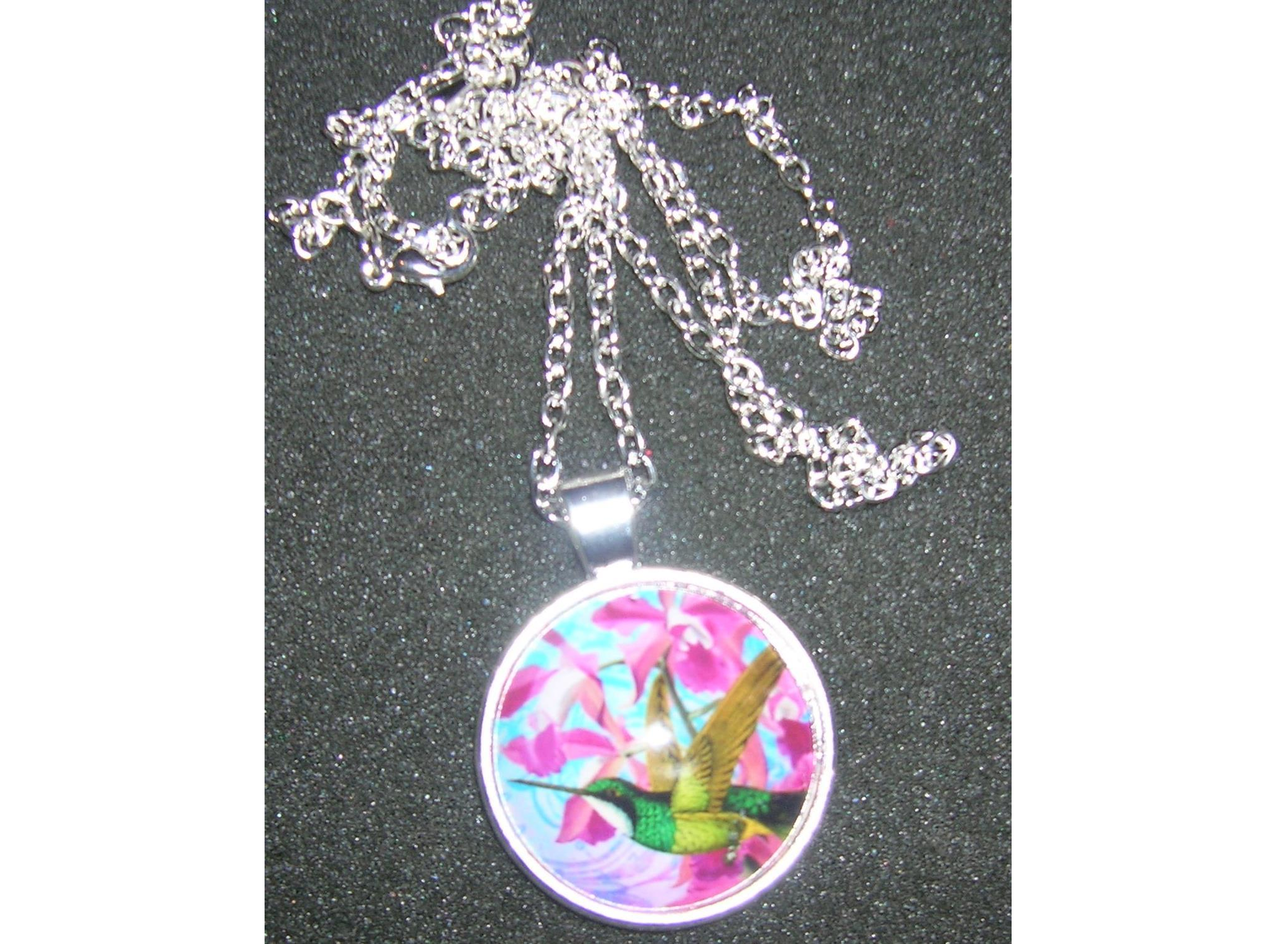 Hummingbird With Orchid Necklace