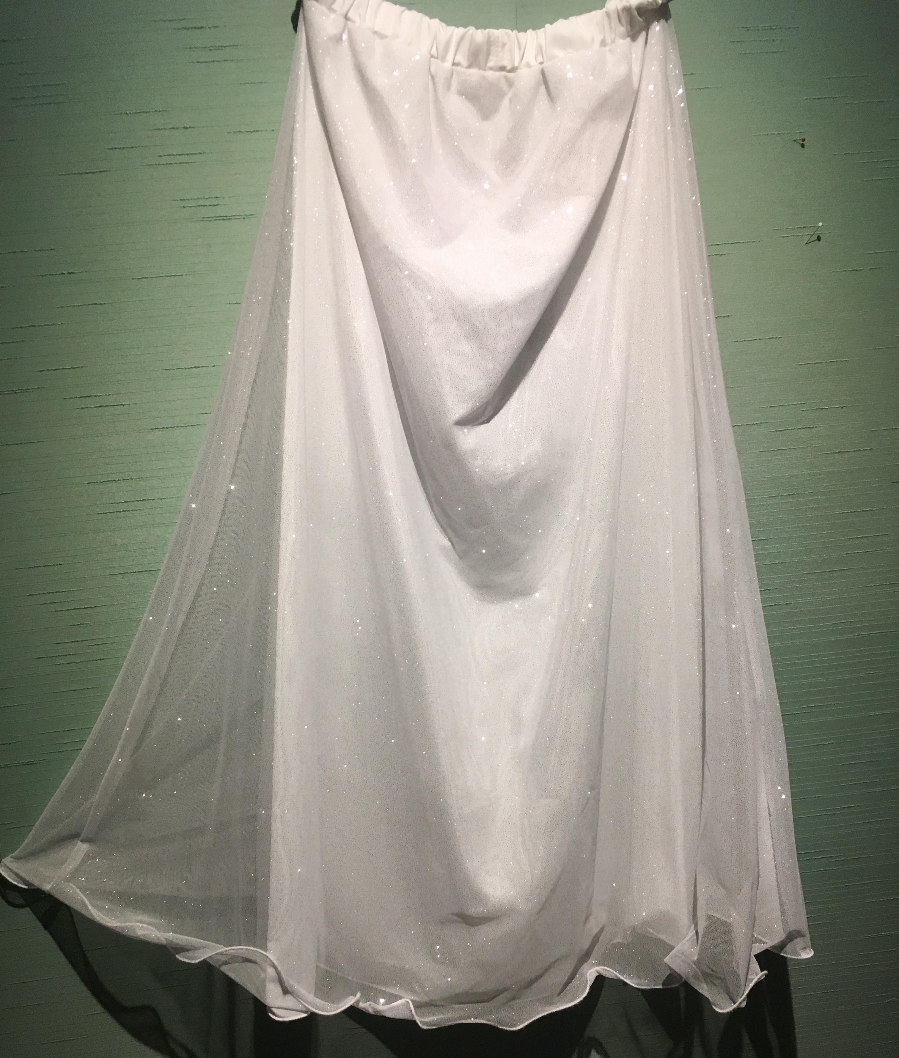 White/S Sparkle Chiffon A Line Skirt