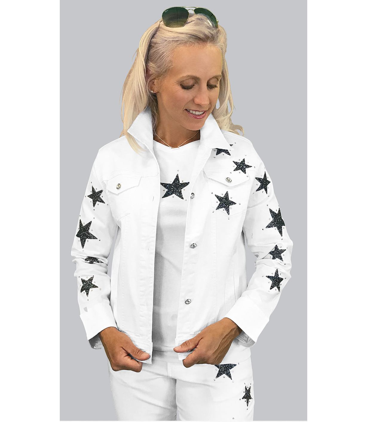 White or Black Denim Star Jacket