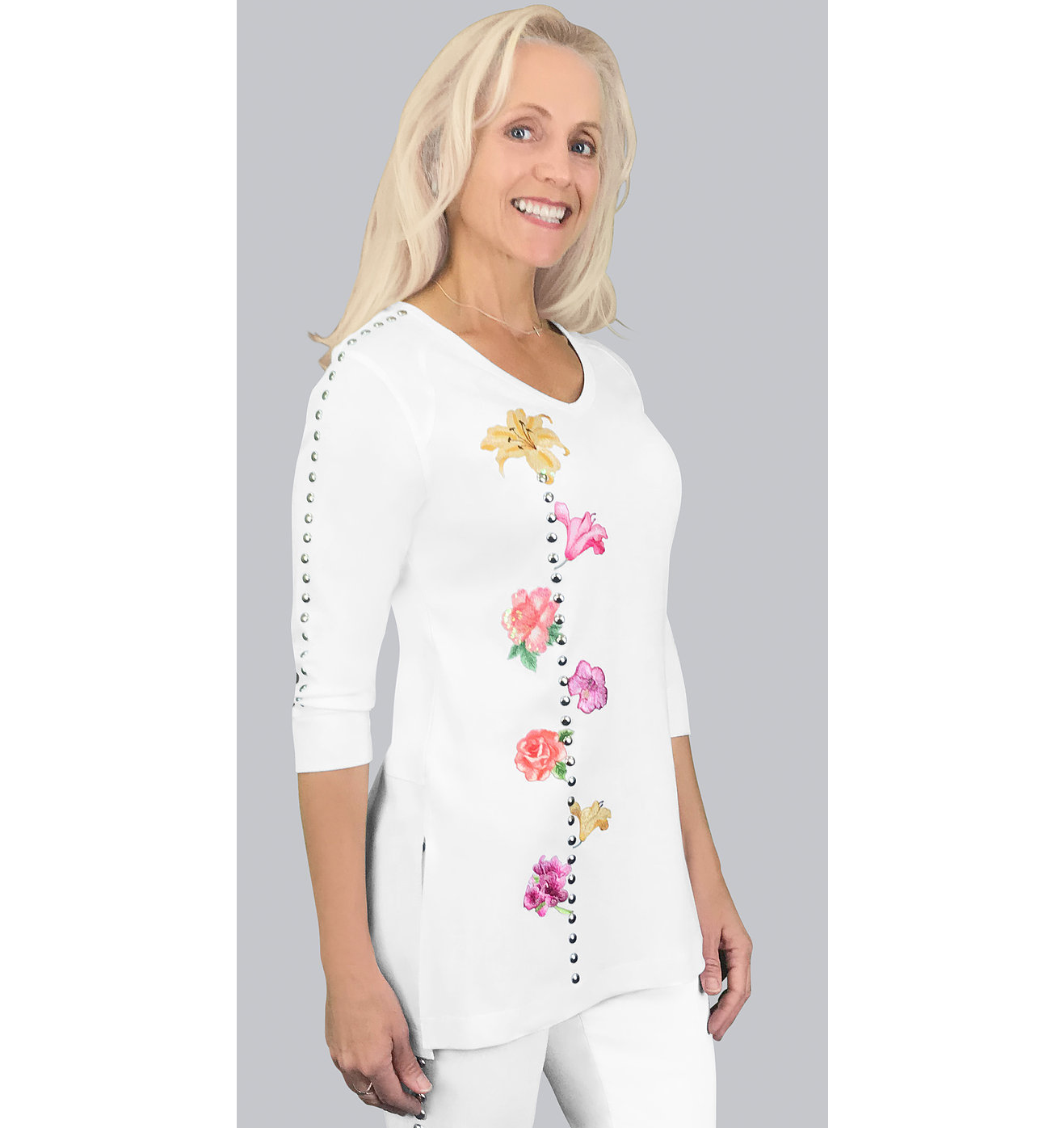 Floral Embroidered White Tunic Top